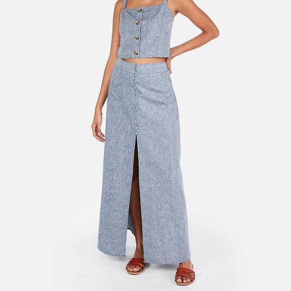 51496fbf6 Express Skirts | Brand New Linenblend Button Front Maxi Skirt | Poshmark